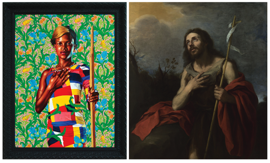 Saint John The Baptist in the Wilderness (Links: Kehinde Wiley, 2013 - Rechts: wellicht Bartolomé Murillo, 1660-70)